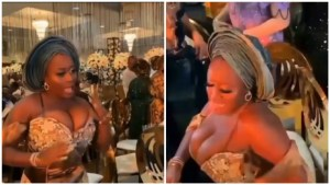 Watch busty Nigerian lady causing a stir at a wedding reception with her dance moves (Video)