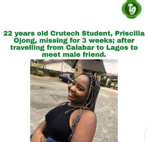 Cross River University student goes missing after she left Calabar to visit male friend in Lagos