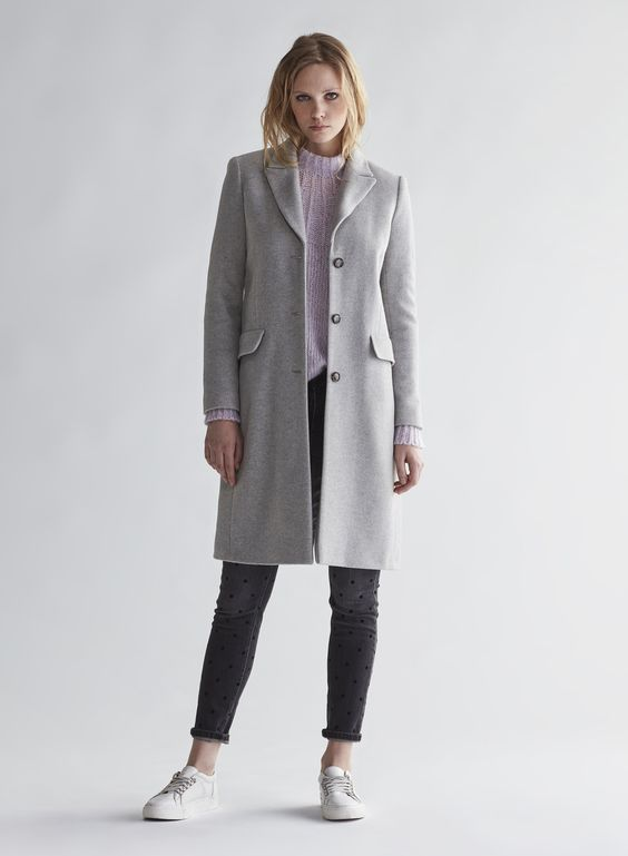 Oui classic wool coat cashmere