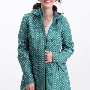 Green Print Rain Coat Boutique Jacket