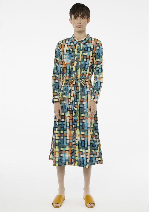 blue check midi shirt dress Effigy