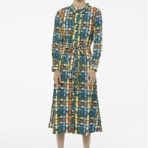 blue check midi shirt dress Effigy