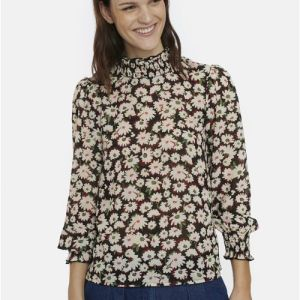 floral high neck blouse top