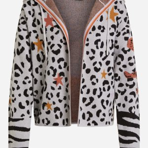 oui cardigan animal print