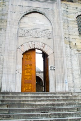 The entrance of the Yeni Cami Mosque Istanbul Turkey