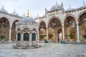 The impressive şadırvan at the Yeni Cami Mosque Istanbul Turkey