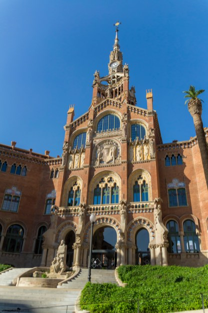 The gorgeous Hospital de la Santa Creu i Sant Pau, located close to an apartment with a view in Barcelona