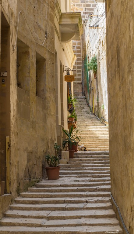 Narrow streets in Senglea, Malta