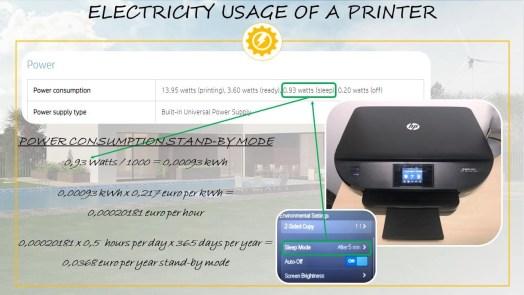 Printer electricity usage