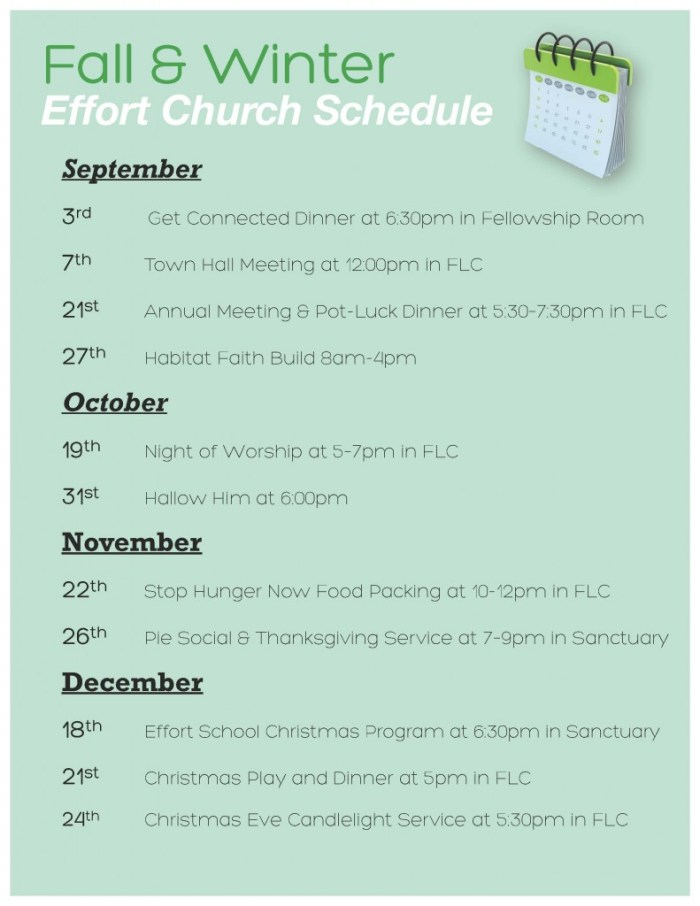 Fall-Winter Schedule