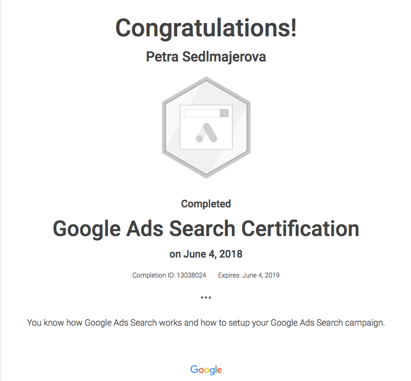 Google Ads Search Certificate