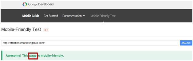 mobile friendly test analyzer