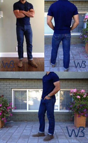 example of Levi's 501 model on a well-built guy (click to enlarge)