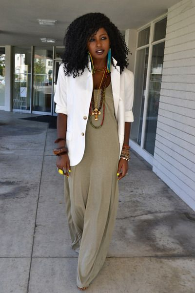 10 Ways to Wear a White Blazer Solid Maxi Dress