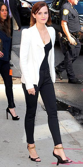 10 Ways How to Wear a White Blazer Over All Black Emma Watson