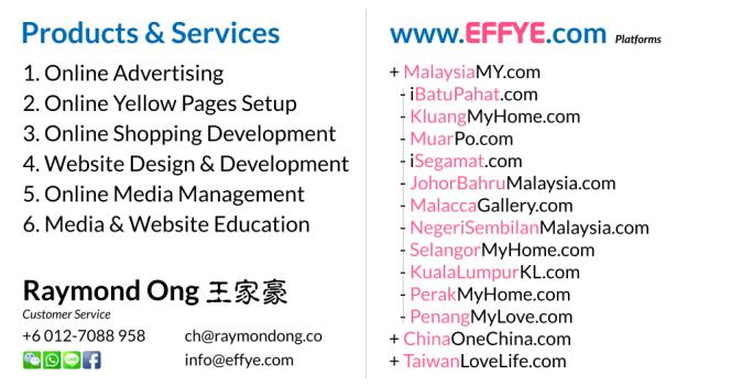 KL Raymond Ong Effye Media Kuala Lumpur Website Design Online Media Advertising Web Development Education Webpage Facebook eCommerce Management Photo Shooting Malaysia NC02