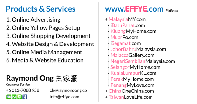 Msia Raymond Ong Effye Media Malaysia Website Design Online Media Advertising Web Development Education Webpage Facebook eCommerce Management Photo Shooting MY 马来西亚 NC02