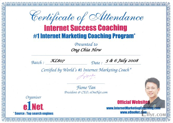 Effye Media Raymond Ong Chia How Resume 1 Internet Marketing Coaching Program Internet Success Coaching by Fione Tan eOneNet 2008 July