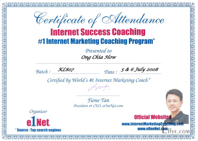 Effye Media Raymond Ong Chia How Resume 1 Internet Marketing Coaching Program Internet Success Coaching by Fione Tan eOneNet 2008 July
