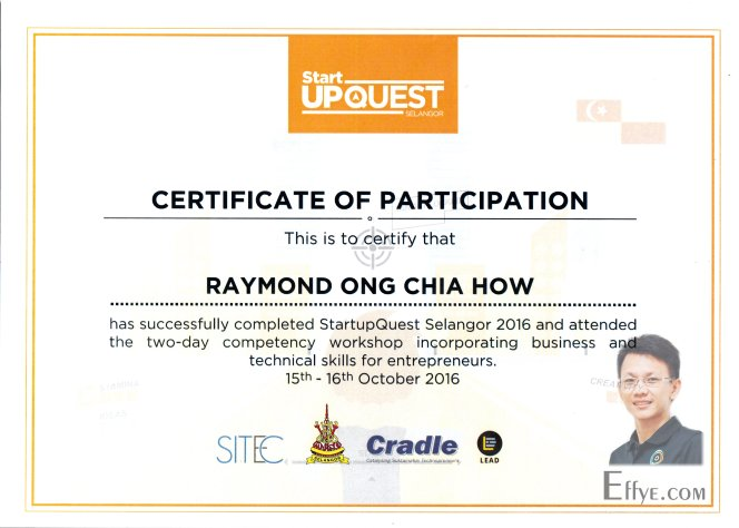 Effye Media Raymond Ong Chia How Resume Start Upquest Workshop Incorporating Business and Technical Skill for Entrepreneurs by SITEC Selangor Cradle LEAD