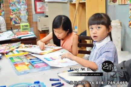 马来西亚 柔佛 峇株吧辖 美术课程 艺术画室 儿童绘画 彩图 水彩画 木笔画 蜡笔画 素描 油画 广告画 壁画 板画 布画 漫画 Kiong Art 艺术之家美术画室 A01-04