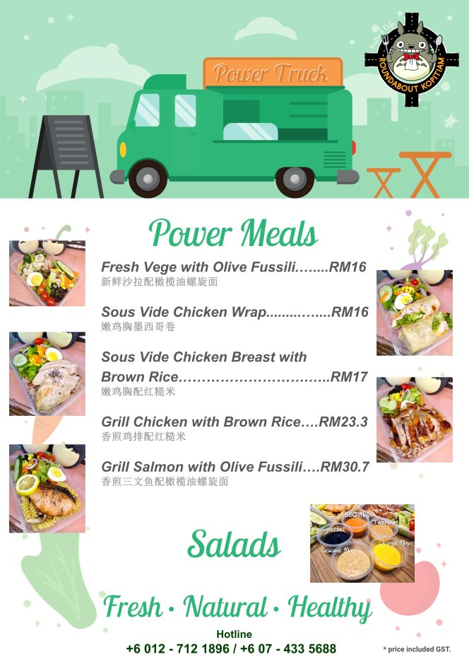 Batu Pahat Roundabout Bistro N Cafe Malaysia Johor Batu Pahat NEW Health Meal Menu - Power Meal - Salads 马来西亚 柔佛 峇株巴辖 新健康能量套餐 - 能量餐 - 沙拉 A01