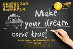 柔佛有执照的贷款公司 Lupin Resources Malaysia SDN BHD 您金钱资源的供应商 古来 柔佛 马来西亚 个人贷款 商业贷款 低利息抵押代款 经济 A01-34