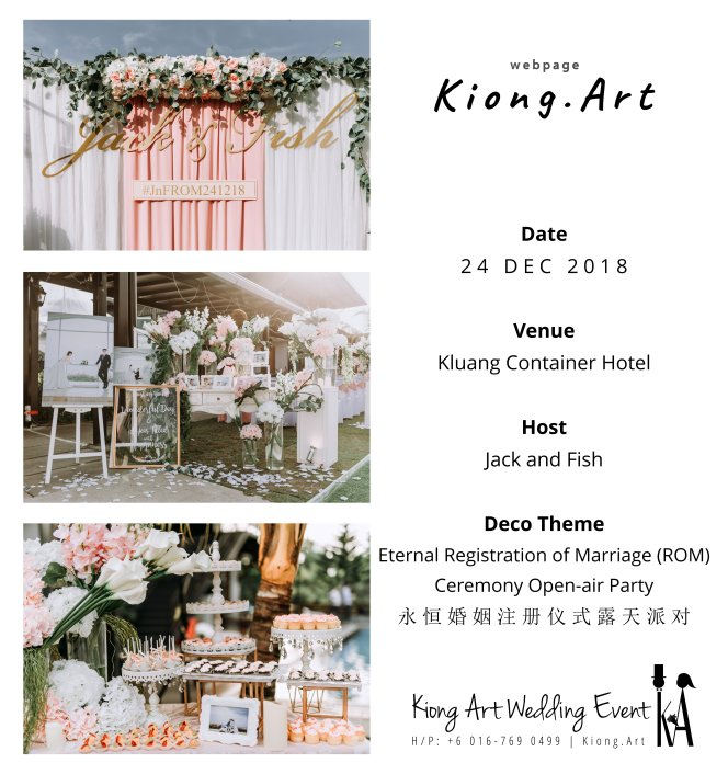 Malaysia Kuala Lumpur Wedding Decoration Kiong Art Wedding Deco Eternal Registration of Marriage Ceremony Open-air Party of Jack and Fish ROM at Kluang Container Hotel A14-A00-14