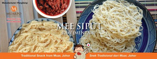 MuarPo Food Industries MuarPo MEE SIPUT dan Mee Siput Mentah Mee Siput Snek Yang Paling Digemari satu jenis makanan ringan A01-02