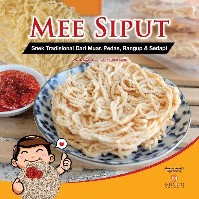 MuarPo Food Industries MuarPo MEE SIPUT dan Mee Siput Mentah Mee Siput Snek Yang Paling Digemari satu jenis makanan ringan A01-03