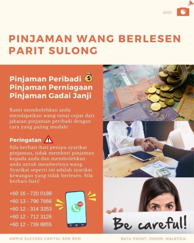 Pinjaman Wang Parit Sulong Pinjaman Wang Batu Pahat Pinjaman Wang Muar Pinjaman Wang Berlesen Parit Sulong Loan Ample Success Capital A28