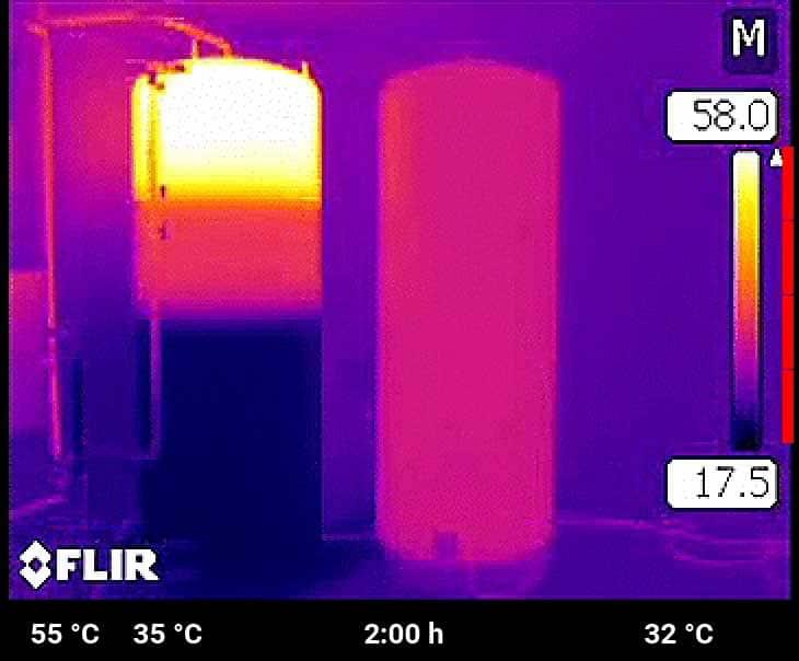 Das kühlere Heizungswasser mit 35 °C wird unter der Zone für die Trinkwassererwärmung eingespeist. Der Speicher mit Heizstab hat inzwischen erst 30 °C überschritten.