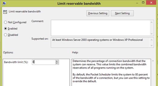 تحديد قيمة limit reservable bandwidth لـ تسريع الانترنت