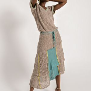 Midi textured knit dress, featuring loose top with short sleeves and V neckline, elastic waist with a cord belt and ruflled skirt with panel