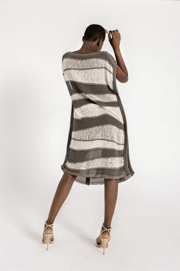 Sleeveless textured knit tunic-dress, with a belt