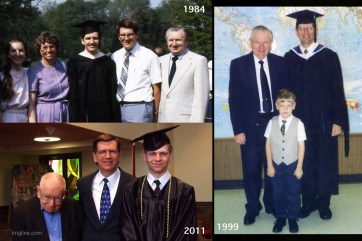 Dad always valued education, earning a PhD himself, and teaching university for many years. Here you see him when I earned my BA in 1984 and my MA in 1999, and when his grandson graduated from high school in 2011.