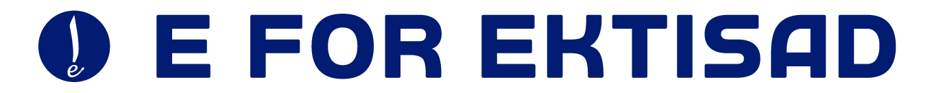 E for Ektisad Header in Blue and White
