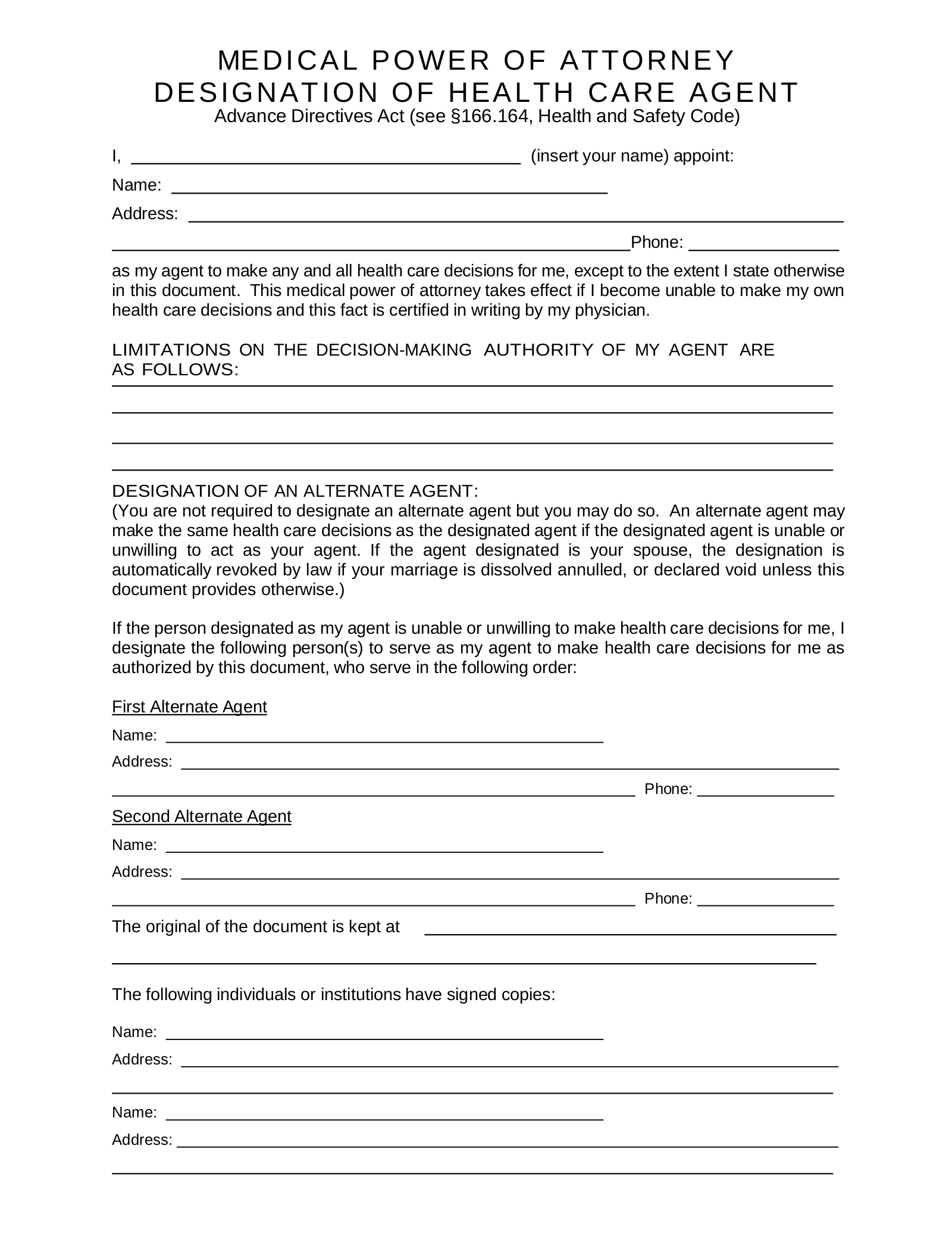 Free Texas Medical Power Of Attorney Form