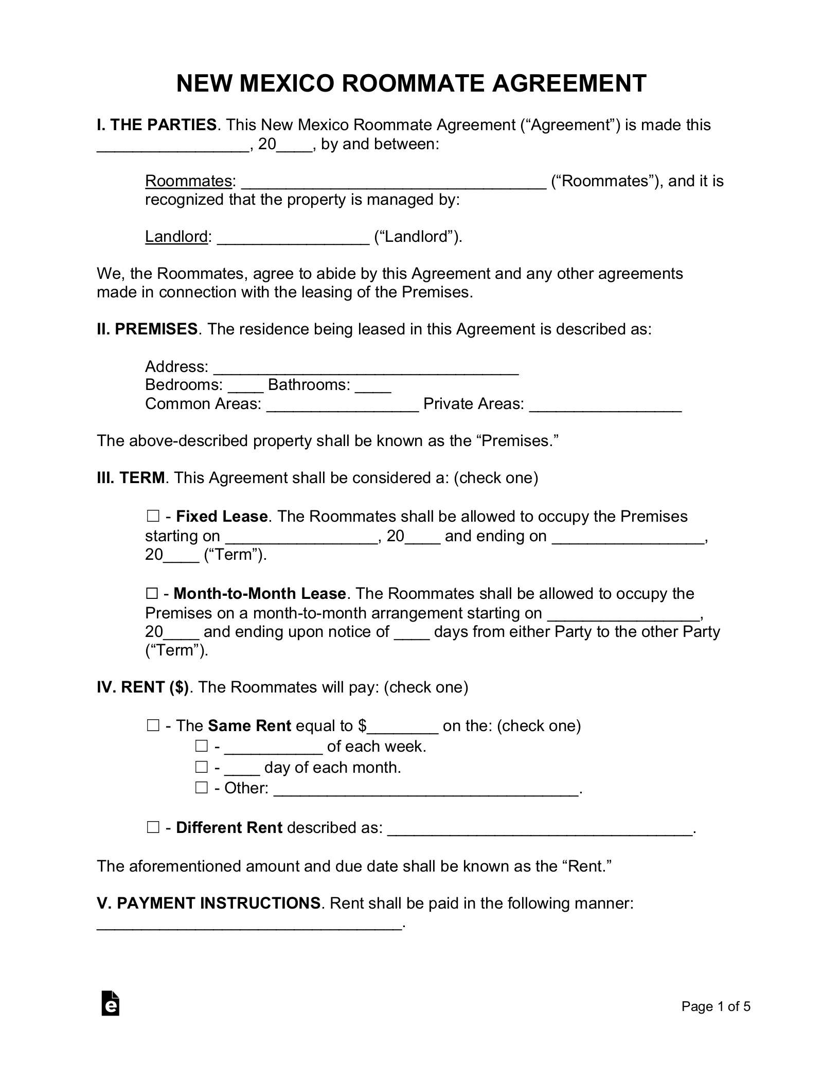Roommate Release Agreement Template Tutore