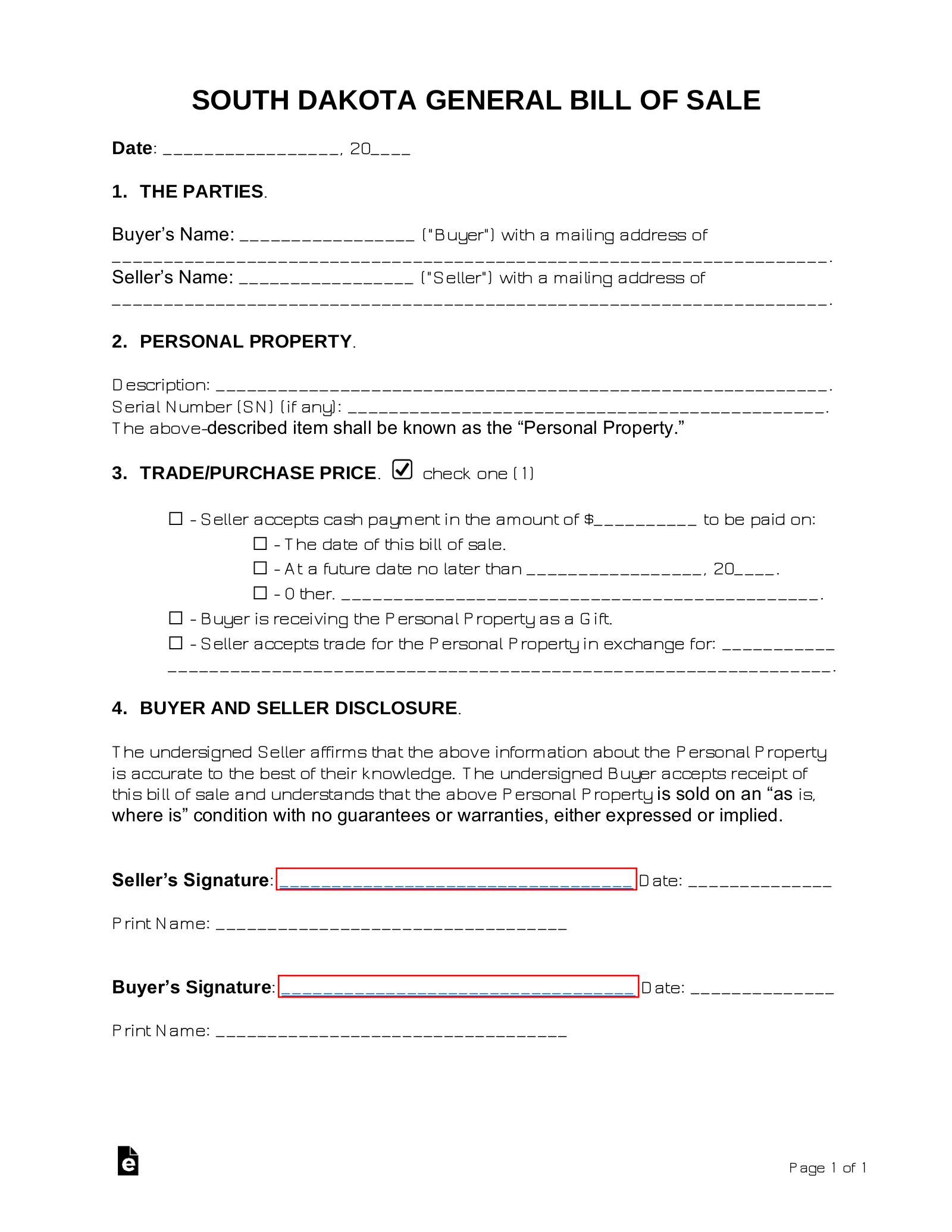 Free South Dakota General Bill Of Sale Form