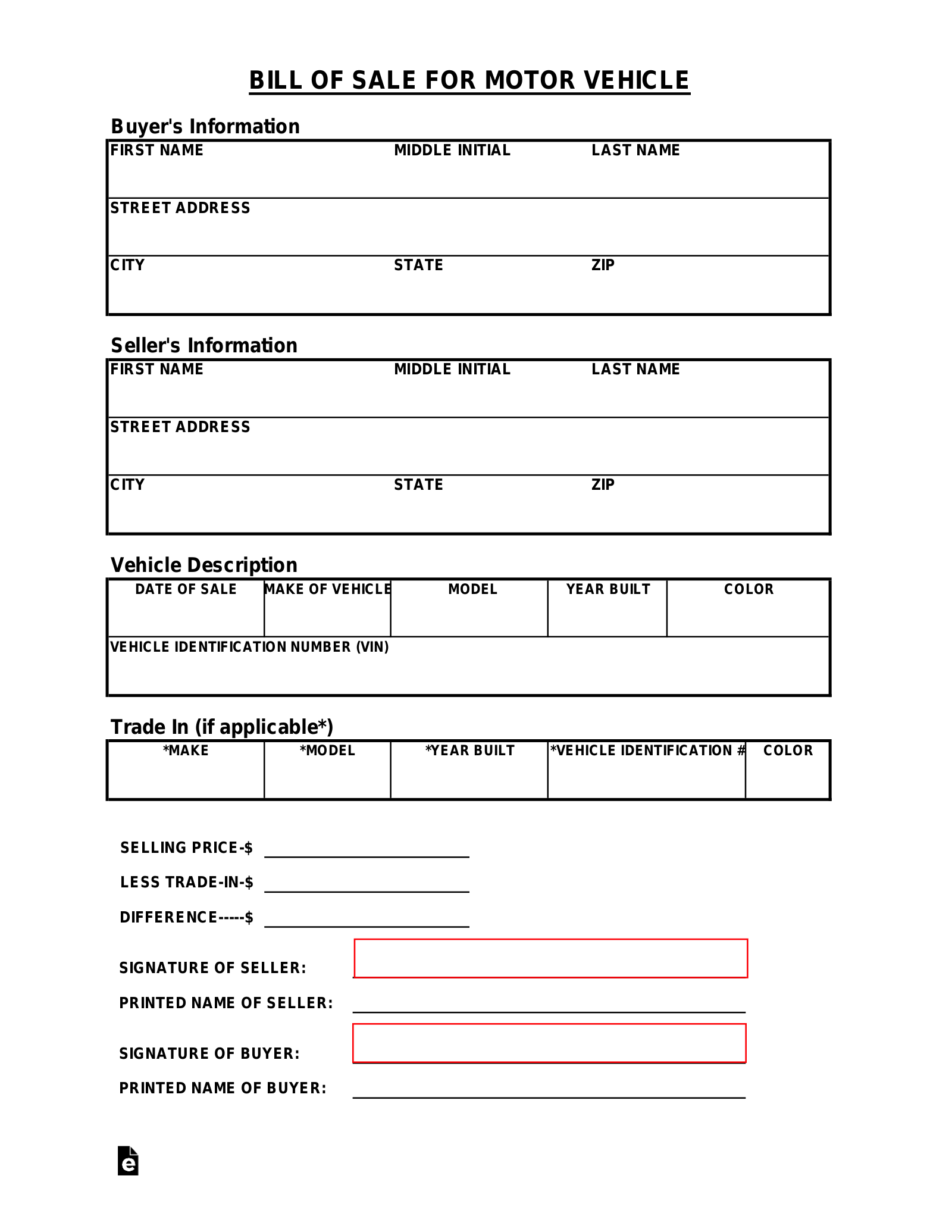 Free Tennessee Motor Vehicle Bill Of Sale Form