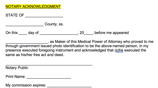medical-poa-notary-acknowledgment