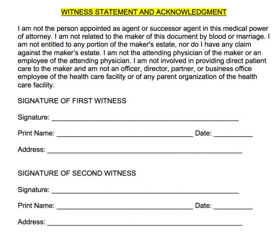 medical-poa-witness-statement-acknowledgment