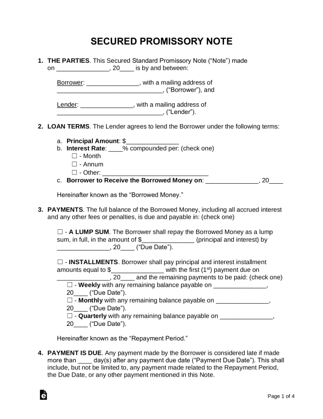 Free Secured Promissory Note Template - Word  PDF – eForms
