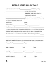 Free Mobile (Manufactured) Home Bill of Sale Form - Word ...