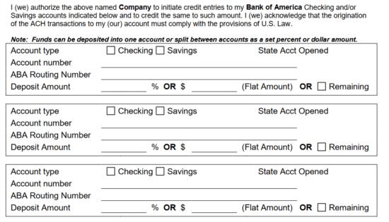 Free Bank of America Direct Deposit Form - PDF   eForms – Free ...