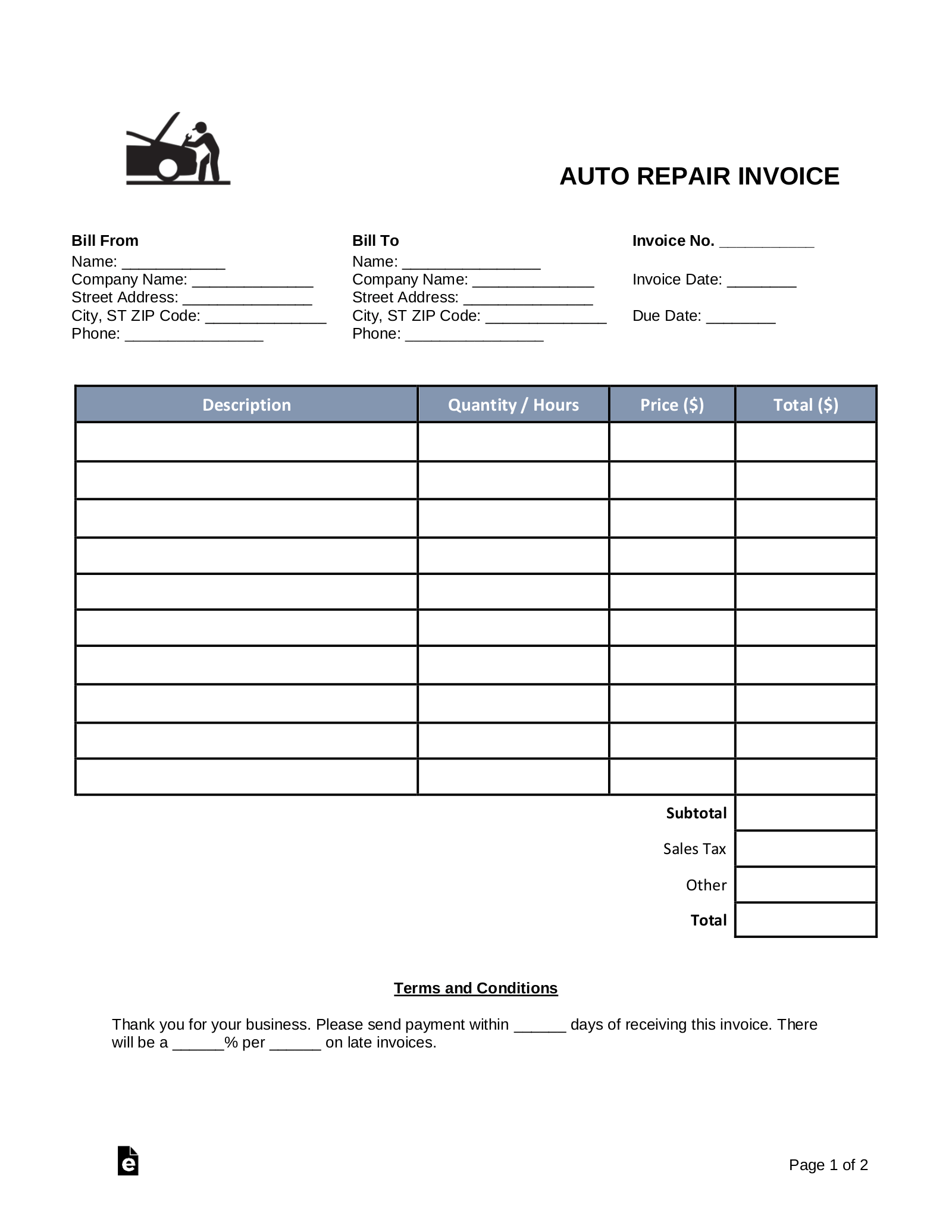 Free Auto Body Mechanic Invoice Template