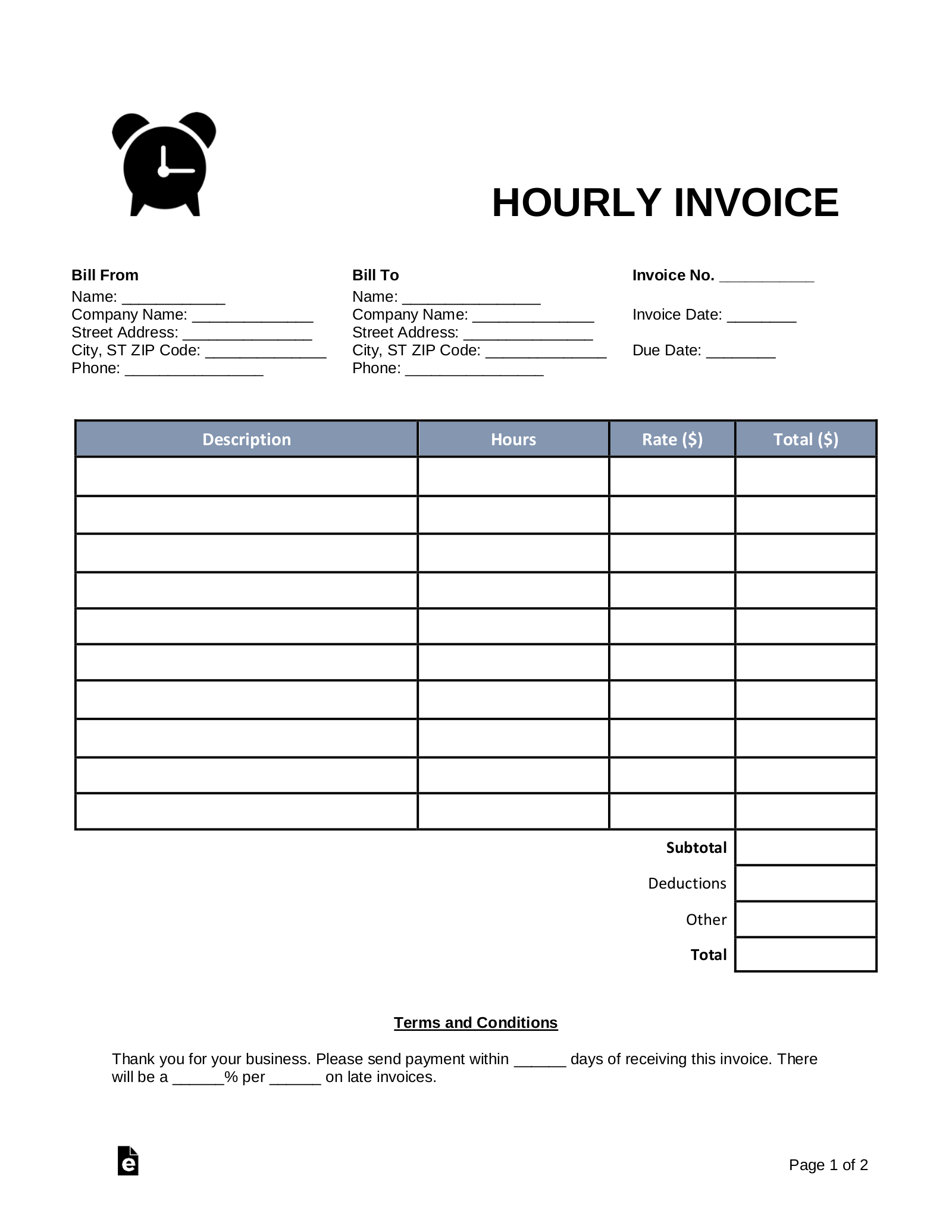 Free Hourly Invoice Template