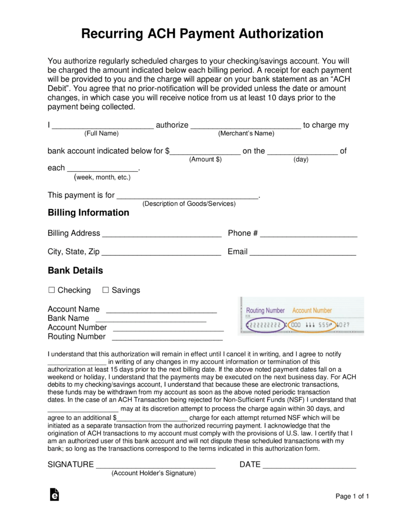 ach deposit authorization form template