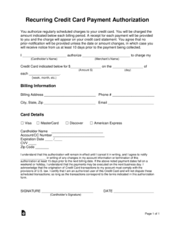 Free Recurring Credit Card Authorization Form - PDF | Word | eForms ...